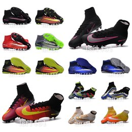 Wholesale New OrigINal mens V VI Shoes Soccer SuPeRflY MerCURial High Ankle FoOTbAll BoOTs HERITAGE FG AG IC TF CR7 MerCUrialX ProXImo soccer ClEaTs