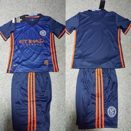 Wholesale 1617 New York City Kids football shirt away blue best quality soccer jerseys Children shirts quickly send PIRLO DAVID VILLA LAMP A