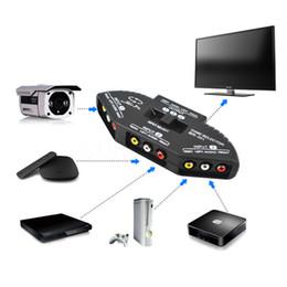 Câbles xbox av à vendre-2016 Nouveau noir Sélecteur 3 Ports de jeux vidéo Commutateur Câble AV RCA pour XBOX PS TV de haute qualité