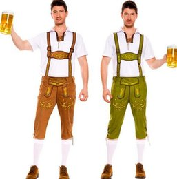 Wholesale Hot Man Adult Costume Sexy Oktoberfest Fancy Dress Bib Short Suit Costume Deguisement Halloween Cosplay Waiter DisfrazCE323