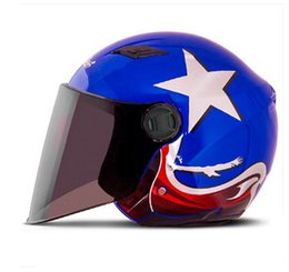 Descuento cascos de carreras de la vendimia E # 38 ANDES-B-638 Vintage ABS Racing Helm Motorcycle Open Cara Casco Scooter Motocicleta Gloss Blue Star Helmet UV Lens Adulto Verano