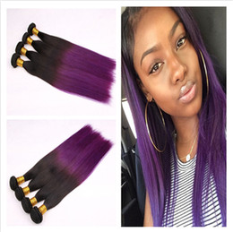 Virgin Brazilian Ombre Human Hair Silky Straight Black and Purple Two Tone 4Bundles Ombre Brazilian Straight Human Hair Weaves 4Pcs Lot