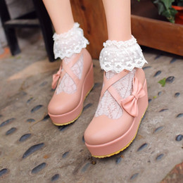 Japanese new sweet girls BOW STRAP PLATFORM wedges round doll shoes shoes student shoes @001