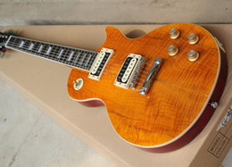 Hot Sale Factory Custom Electric Guitar with Dark Yellow Body,Flame Maple Veneer,Chrome Hardware,Can be Customized