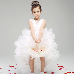 White Pleated Girl Wedding Dress Princess Flower Girl Dresses Kid Party Birthday Dress With Long Train For Little Girls Glitz