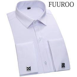 Promotion boutons de manchette de smoking Gros-Men Shirt 2016 100% coton Hommes Twill Tuxedo Shirt Français Cuff Formal Solide Couleur Chemise Homme Cufflink Chemises CBJ-T0042