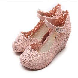 Wholesale Summer Hot Sale Women Sandal Plastic Wedges Crystal Hollow Beach Shoes Rain Shoes Lady US6 US9