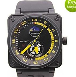 Wholesale New Mens Watches Black Rubber Bell BR Automatic Mechanicl BR01 LIMITED EDITION AVIATION Moon Day Power Reserve