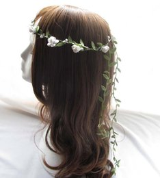 Forest Tassels Mini paper rose flower headbands Pink white for Wedding bridal basket girl props hair accessories