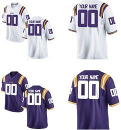 Wholesale Men s Women Youth Kids LSU Tigers Personalized Customized College Cheap jerseys White Purple Top Quality Drop Shipping jerseys