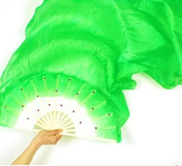 New Arrival nice mixed Rainbow colors 100% Hand Made Multicolor real silk long Fan Veils for Belly Dancing or Stage Show