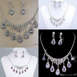 Mariage met en vente à vendre-Nouveaux ensembles de bijoux Mariage nuptiale Prom strass cristal bijoux collier boucle d'oreille Set Accessoires nuptiale Hot Sale 15003