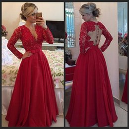 Long Sleeve A Line Evening Dresses Sexy V Neck Sheer Back Lace Party Prom Gowns Custom Made Red Lace And Satin With Beading