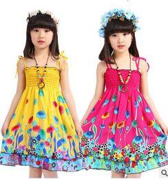 girl summer beach dress kids summer long bohemian beach dresses kids princess flower dress kids with necklace girls sleeveless cotton dress
