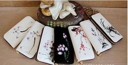 Wholesale 2016 New Features hand painted Chinese style linen purse Plain cotton Women Wallets Multi colored flowers Best gifts handbags Toys