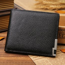 Wholesale new fashion iron angle side of the first layer of leather men s slim down leather wallet