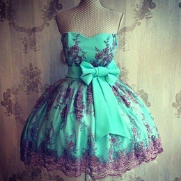 Sweety Mint Green Short Mini Homecoming Dresses Sweetheart Lace Appliques With Bow Sash Sweet 16 Graduation Dresses Short Cocktail BA3558