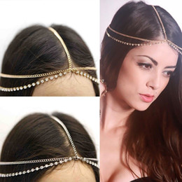 New Rhinestone Crystal Head Chain Double Layer Gold Chains Headband Wedding Hair Jewelry Lots 10 Pcs