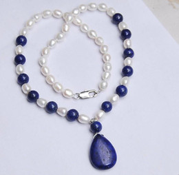 Wholesale 2016 hot buy pearl jade bracelet ring earring necklace Pendant gt gt gt Natural MM White Akoya Pearl Lapis Lazuli Pendant Necklace quot