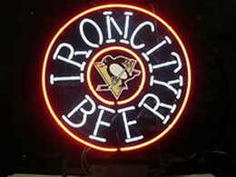 IRON CITY BEER Real Glass Neon Light Sign Home Beer Bar Pub Recreation Room Game Room Windows Garage Wall Sign