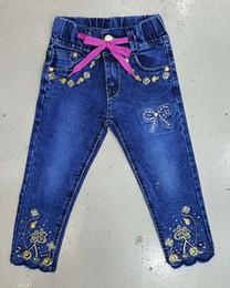 Wholesale Tight pants Girls bow tie waistband Rhinestone flower decoration blue trousers washed whitewashed yards fashion jeans