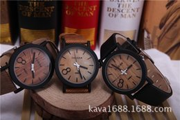 Wholesale FEIFAN Simulation Wooden Men Watches Wood Color Leather Strap Watch Antique Wrist watches Clock Men relojes hombre