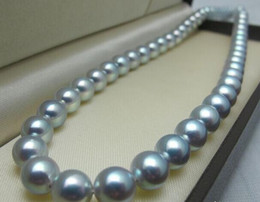 Eleglant natural 10-11mm south sea silver gray pearl necklace 18inch 14k gold clasp