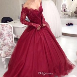 Wholesale 2017 New Burgundy Off The Shoulder Long Sleeves Lace Ball Gown Evening Dresses Tulle Applique Beaded Floor Length Party Prom Evening Dresses