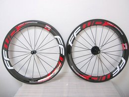 Wholesale Glossy FFWD full carbon fiber Red decal MM road bike wheels basalt braking carbon wheels with Novatec A271hubs