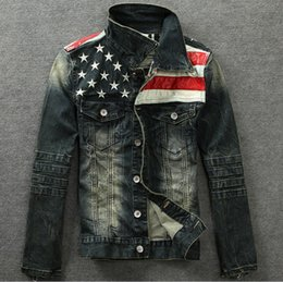 Wholesale Men s vintage american flag suit denim jacket patchwork distressed antique Male denim jean jacket outerwear