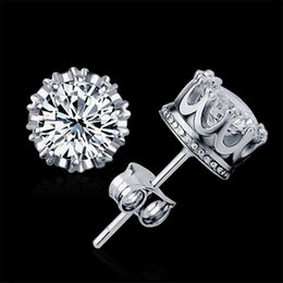 Fashion Fine Jewelry Crown Cubic Zirconia Earring 925 Sterling silver Stud Earrings for Women Ear Cuff Brincos