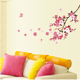 Wholesale Cherry Blossoms Flower Wall Stickers Floral Wall Decals Art for Bedroom Living Room Home Decorations WS438