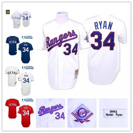 Wholesale Throwback Texas Rangers Nolan Ryan Home White Gray Retro MLB Baseball Jerseys by Mitchell Ness