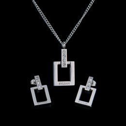 Wholesale Factory Direct Top Quality Never Fade L stainless steel Bridal Jewelry sets Crystal Necklace And Earrings Jewelry sets