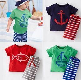 PrettyBaby 2016 Kids girls boys cotton short sleeve t shirts stripe Shorts pants sets Babys Boys anchor Pirate ships cartoon Sport suits
