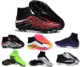 Wholesale Discount retro soccer boots mens outdoor soccer cleats Hypervenom Phantom fg youth boys football shoes superfly black white cleats shoes