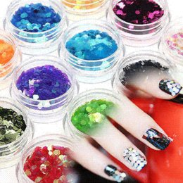 12 Colors Nail Art Tips Decoration Set Big Hexagon Glitter Powder For UV Acrylic powder factory
