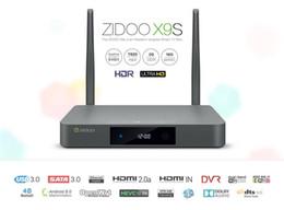 Wholesale DHL Free ZIDOO X9S Android TV Box Realtek RTD1295 Quad Core G G HDMI OUT IN KODI Smart TV Russian Hebrew IPTV Europe Tv Box