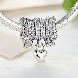 Authentic 925 Sterling Silver Heart & Bow Charms with Clear Cubic Zirconia for DIY Beaded Charm Bracelets S316