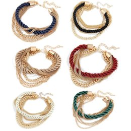 6 Colors Women Bracelet Weave Chains Handmade Alloy Charms Wristbands Bracelets for Fashion Girls Women Accessory