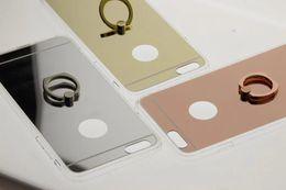 2017 anillo de metal espejo Para Iphone 7 / Plus / 6 6S / Plus / SE 5 5S Bling Espejo de Oro Rosa TPU Funda + económico anillo de metal espejo