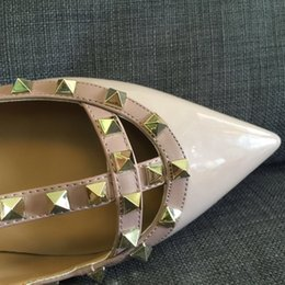 actual shoes~ 3857 40 41 42 tailor made genuine leather nude stud pointy flats shoes ballerinas classic brand designer luxury