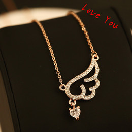 Full of Cubic Zircon Wings of angels Neckalce & Pendant Gold Plated Chain Choker Necklace for Women Jewelry Korean Accessories