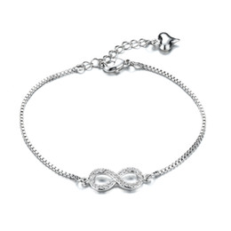Delicate Women's Silver Infinity Bracelet with Heart Dangle Pave Setting Crystal Infinity Jewelry Birthday Gift 170mm+40mm