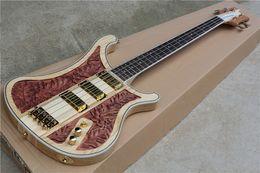 Wholesale RARE Strings Ricken LK Lemmy Kilmister Limited Edition Natural Walnut Hand carved Electric Bass Guitar Korea Gold Hardware Pickups