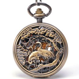 Wholesale Chinese Lucky Crane And Pine Tree Engarevd Case Bronze Mechanical Pocket Watch Roman Numbers Pocket Watch Steampunk