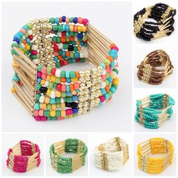 Wholesale Bohemian Bead Bracelets for Women Bohemian Multilayer Imitation Matt Turquoise Bead Bracelet Crystal Beads Tassel Elastic Bracelets Bangles