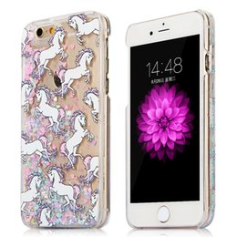 Horse Cat Glitter Liquid Quicksand Back Case Cover for iPhone 5 5S SE 6 6S Plus