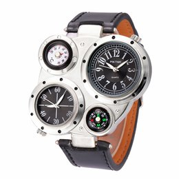 Wholesale Compass Men Watch Geneva Two Time Zone Move Watches Leather Watchband Humidity Measurement