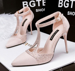 Wholesale The new design summer womens heeled shoes Pointed Toe Suede High Heels sexy hollow party formal shoes woman fashion rhinestone high he